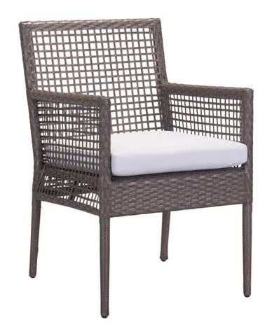 Dining Chair Cocoa & Light Gray (Set of 2) - Sunproof Fabric, Synethet Aluminum Frame