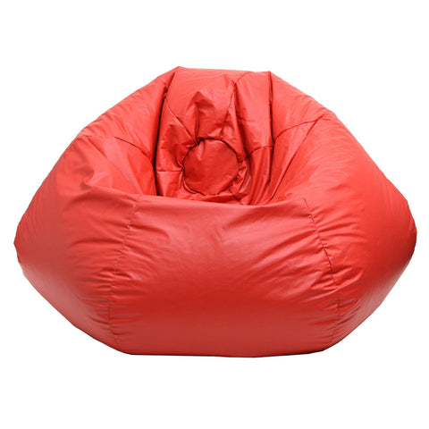 Extra Large Leather Look Vinyl Bean Bag Red