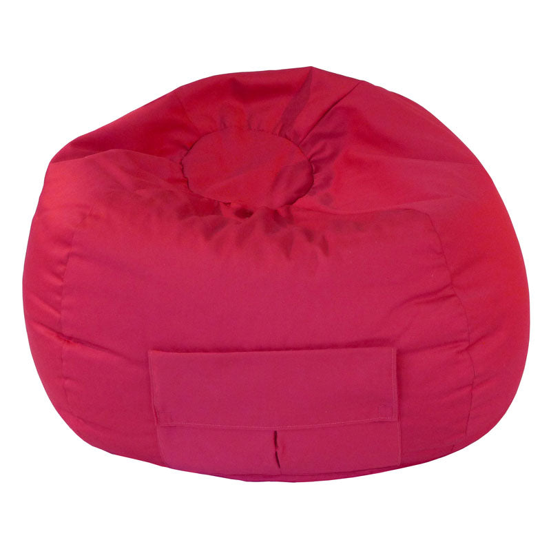 Extra Large Denim Look Bean Bag with Cargo Pocket Red