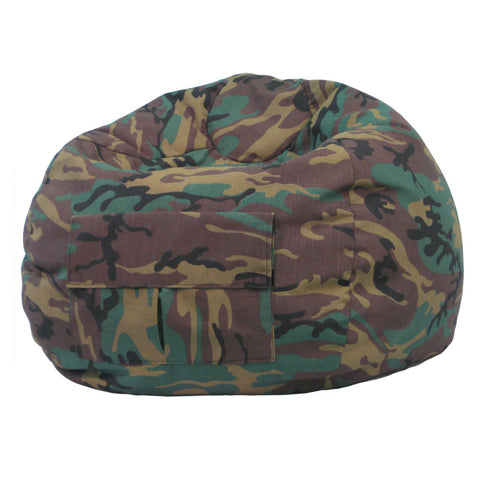 Extra Large Denim Look Bean Bag with Cargo Pocket Camouflage