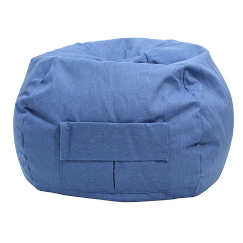 Extra Large Denim Look Bean Bag with Cargo Pocket Blue