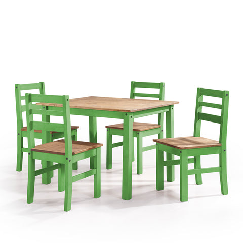 5-Piece Solid Wood Dining Set with 1 Table and 4 Chairs in Green Wash