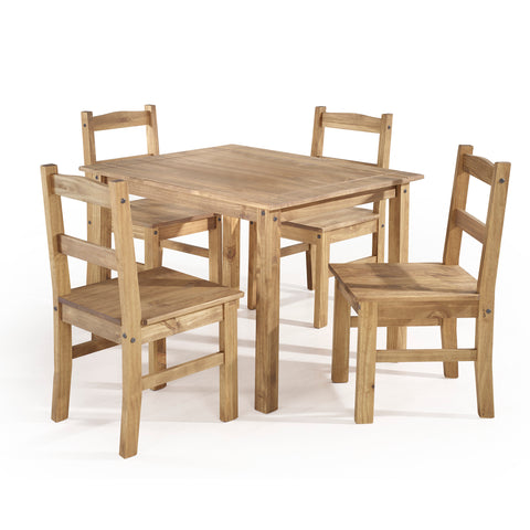 5-Piece Solid Wood Dining Set with 1 Table and 4 Chairs  in  Nature