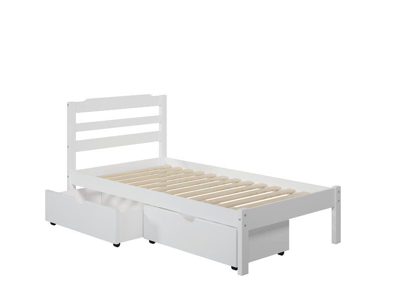 Hayden Twin Storage Bed with 2 Drawers in White