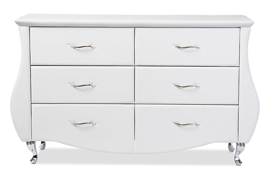 Baxton Studio Enzo Modern and Contemporary White Faux Leather 6-Drawer Dresser  Set of 1