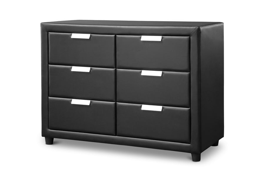 Baxton Studio Pageant Black Faux Leather Upholstered Dresser Set of 1