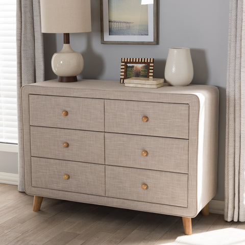 Baxton Studio Jonesy Mid-Century Beige Linen Upholstered 6-Drawer Dresser Set of 1