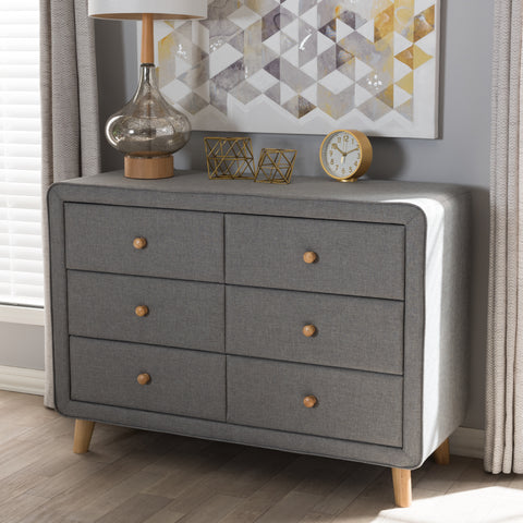 Baxton Studio Jonesy Mid-Century Grey Fabric Upholstered 6-Drawer Dresser Set of 1