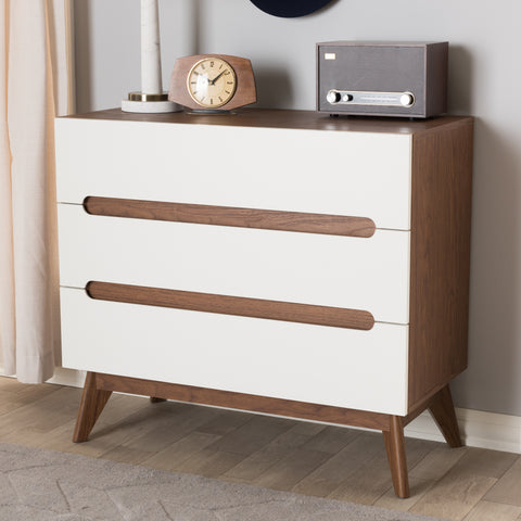 Baxton Studio Calypso Mid-Century Modern White and Walnut Wood 3-Drawer Storage Chest Set of 1