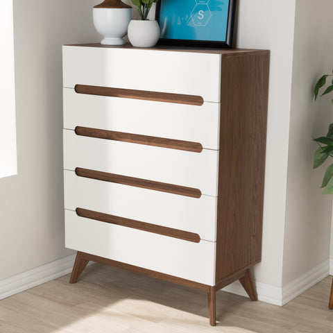 Baxton Studio Calypso Mid-Century Modern White and Walnut Wood 5-Drawer Storage Chest Set of 1