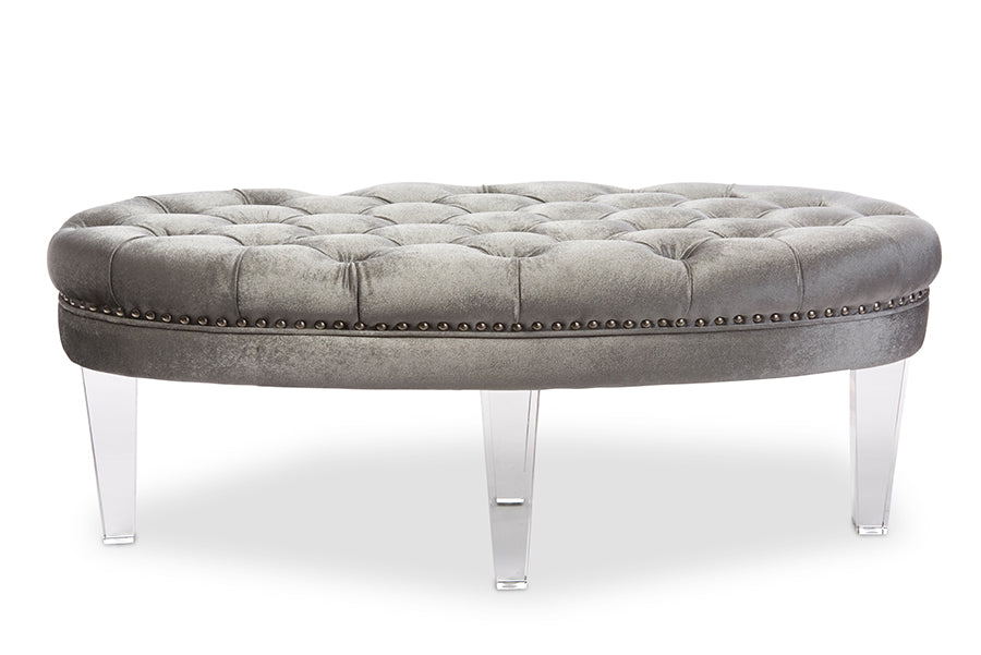 Baxton Studio Edna Modern and Contemporary Oval Grey Microsuede Fabric Upholstered Lux Tufted Ottoman Bench with Acrylic Legs   Set of 1