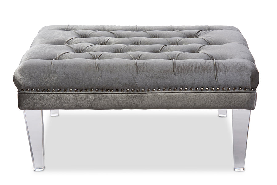 Baxton Studio Edna Modern and Contemporary Square Grey Microsuede Fabric Upholstered Lux Tufted Ottoman Bench with Acrylic Legs   Set of 1