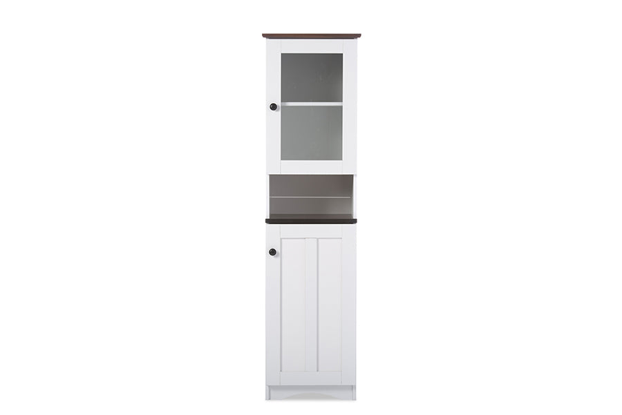 Baxton Studio Lauren Modern and Contemporary Two-tone White and Dark Brown Buffet and Hutch Kitchen Cabinet Set of 1