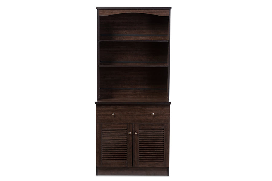 Baxton Studio Agni Modern and Contemporary Dark Brown Buffet and Hutch Kitchen Cabinet  Set of 1