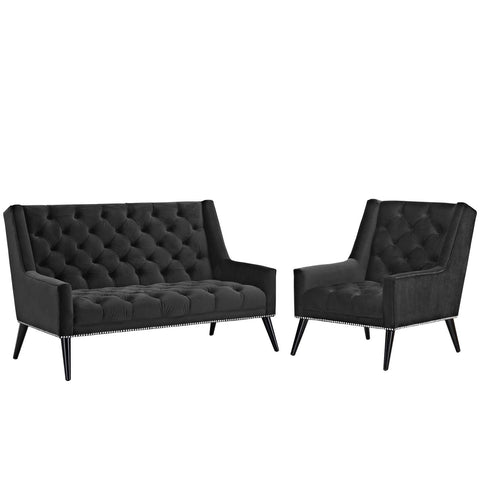 Peruse Living Room Set Velvet Set of 2