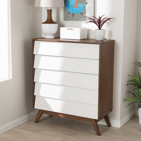 Baxton Studio Hildon Mid-Century Modern White and Walnut Wood 5-Drawer Storage Chest Set of 1