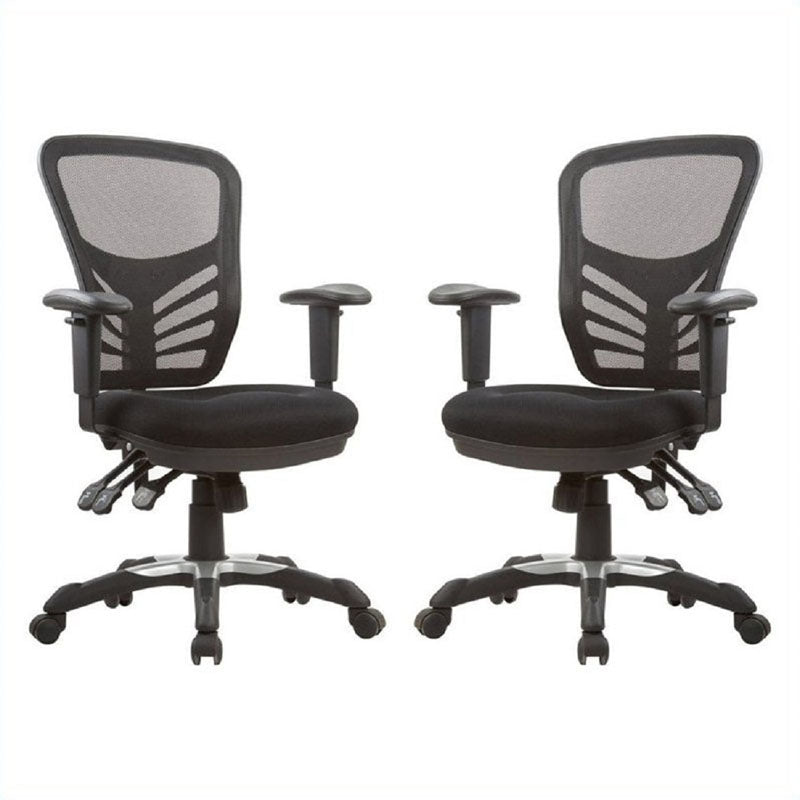 Governor Executive Mesh High-Back Adjustable Office Chair in Black- Set of 2