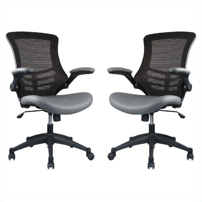Intrepid High-back  Office Chair in Coffee and Grey- Set of 2