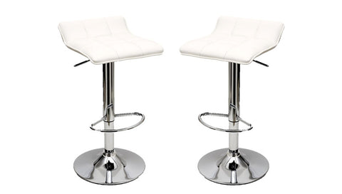 Sleek Varick Barstool with Height Adjustability in White -Set of 2