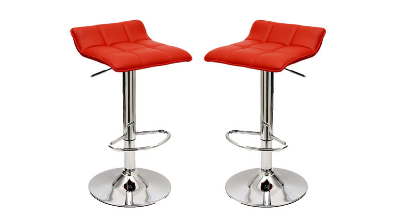 Sleek Varick Barstool with Height Adjustability in Red -Set of 2