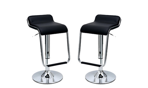 Sophisticated Horatio Barstool with a Hanging Footrest in Black -Set of 2