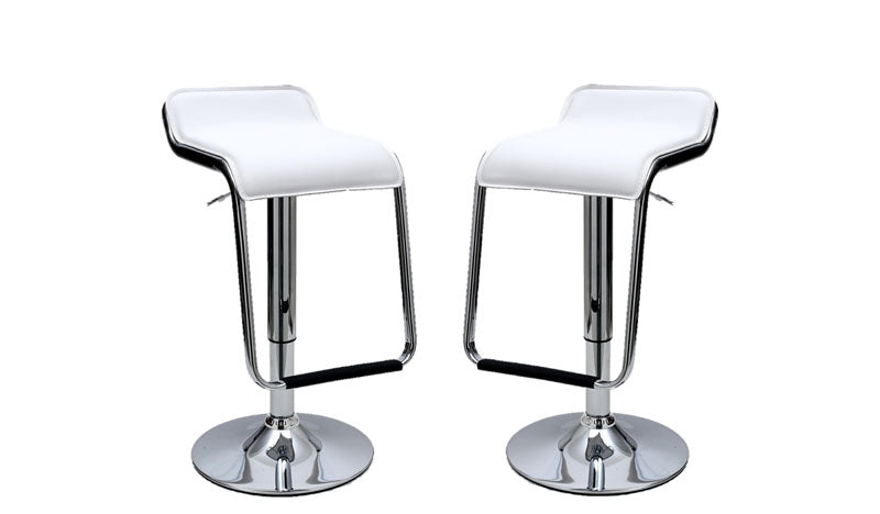 Sophisticated Horatio Barstool with a Hanging Footrest in White -Set of 2
