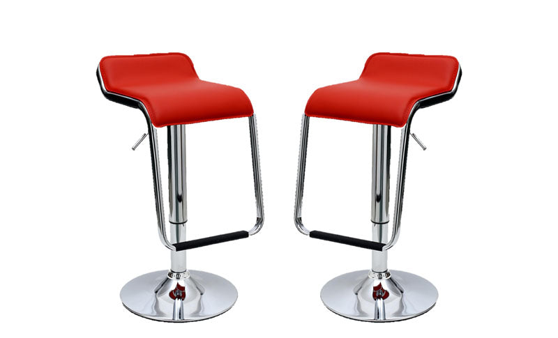 Sophisticated Horatio Barstool with a Hanging Footrest in Red -Set of 2