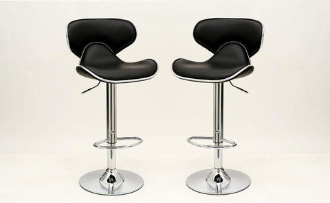 Classy Pablo Barstool with Comfortable Seat Back in Black -Set of 2