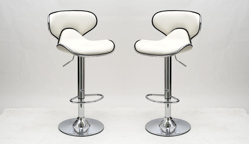 Classy Pablo Barstool with Comfortable Seat Back in White -Set of 2