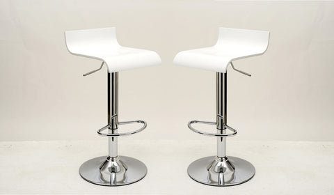 Practical Ludlow Barstool with Height Adjustability in White -Set of 2