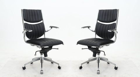 Ergonomic High Back Verdi Office Chair in Black - Set of 2
