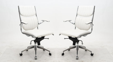 Ergonomic High Back Verdi Office Chair in White - Set of 2