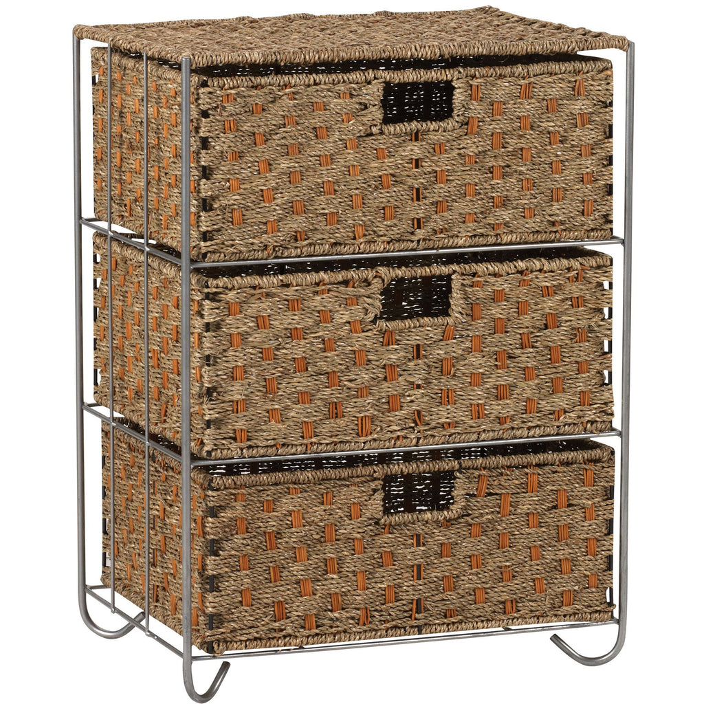 Household Essentials Wicker Rattan 3 Drawer Unit - Harvey & Haley