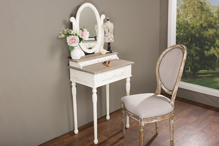 Baxton Studio Anjou Traditional French Accent Dressing Table with Mirror Set of 1