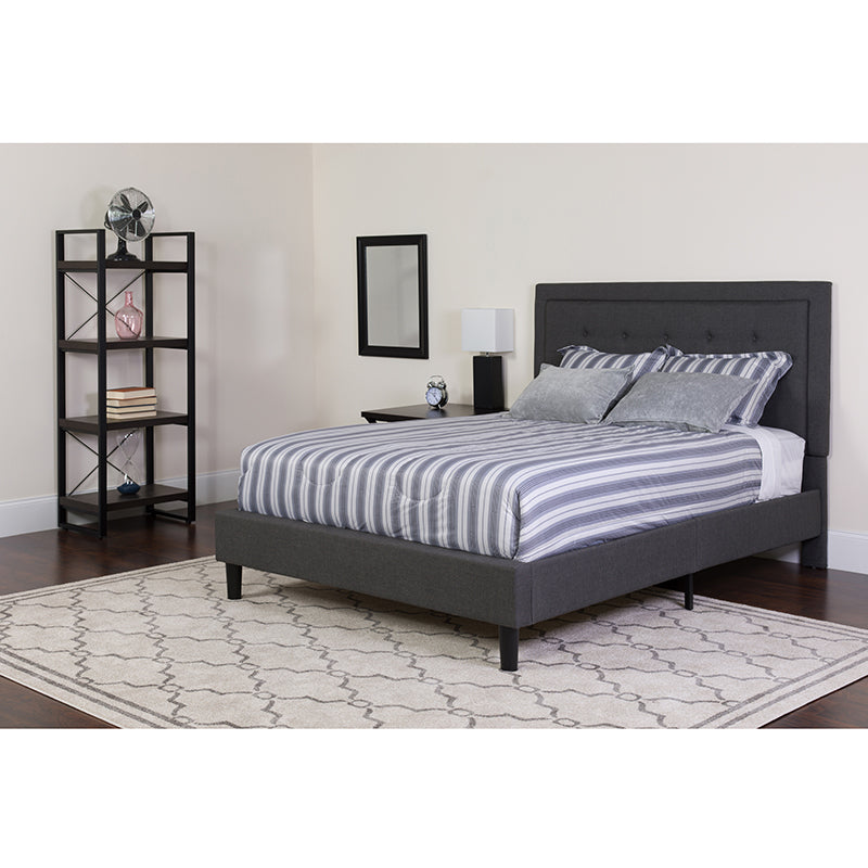 Roxbury Twin Size Tufted Upholstered Platform Bed in Dark Gray Fabric
