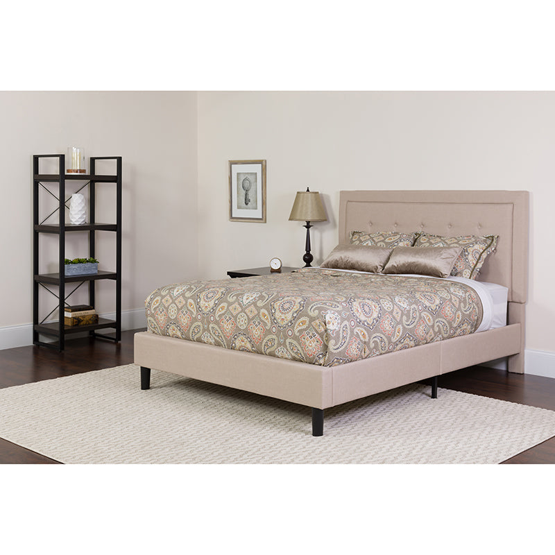 Roxbury Queen Size Tufted Upholstered Platform Bed in Beige Fabric with Pocket Spring Mattress