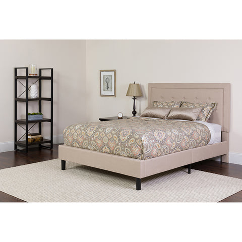 Roxbury King Size Tufted Upholstered Platform Bed in Beige Fabric with Pocket Spring Mattress