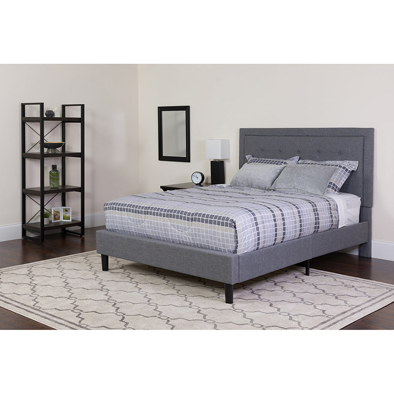 Roxbury Twin Size Tufted Upholstered Platform Bed in Light Gray Fabric with Pocket Spring Mattress