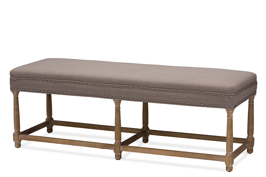 Baxton Studio Nathan Oak Wood and Beige Linen Modern Country Console Bench Set of 1