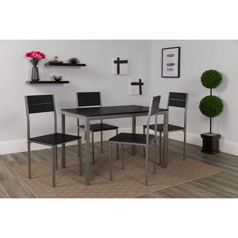 Castleton 5 Piece Black Finish Dinette Set with Chairs