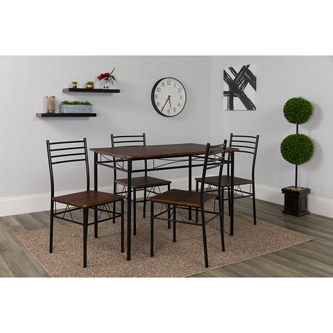 Kingston 5 Piece Walnut Finish Dinette Set with Chairs