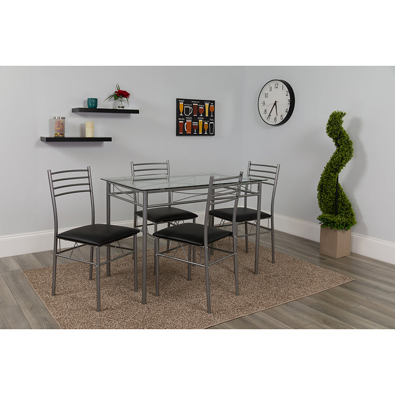 Murray Hill 5 Piece Glass Dinette Set with Black Vinyl Padded Chairs