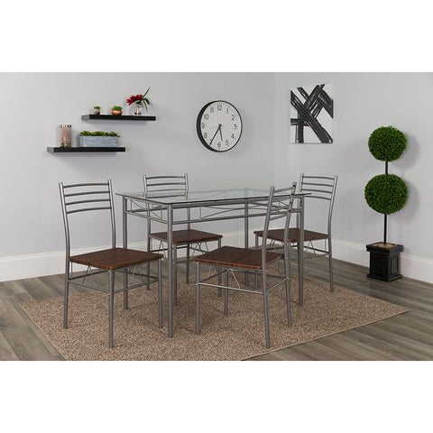 Murray Hill 5 Piece Glass Dinette Set with Walnut Wood Grain Chairs