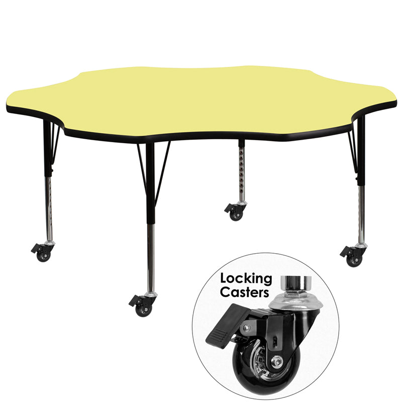 Mobile 60'' Flower Yellow Thermal Laminate Activity Table - Height Adjustable Short Legs