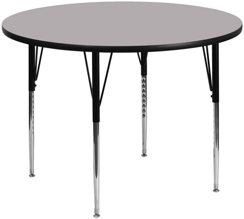 60'' Round Grey Thermal Laminate Activity Table - Standard Height Adjustable Legs