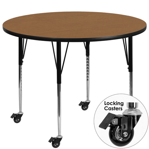 Mobile 60'' Round Oak Thermal Laminate Activity Table - Standard Height Adjustable Legs
