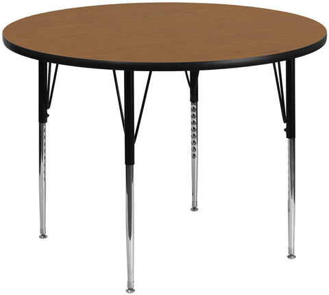 60'' Round Oak Thermal Laminate Activity Table - Standard Height Adjustable Legs
