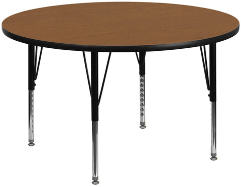 60'' Round Oak Thermal Laminate Activity Table - Height Adjustable Short Legs