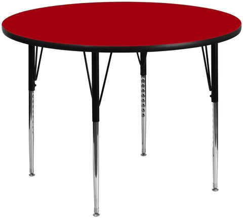 60'' Round Red Thermal Laminate Activity Table - Standard Height Adjustable Legs