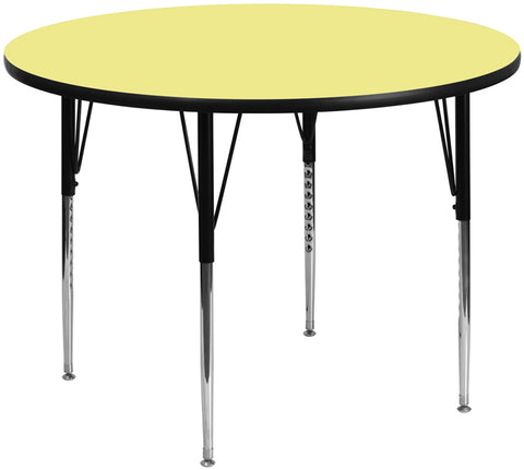 60'' Round Yellow Thermal Laminate Activity Table - Standard Height Adjustable Legs